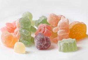 orange green and pink candies
